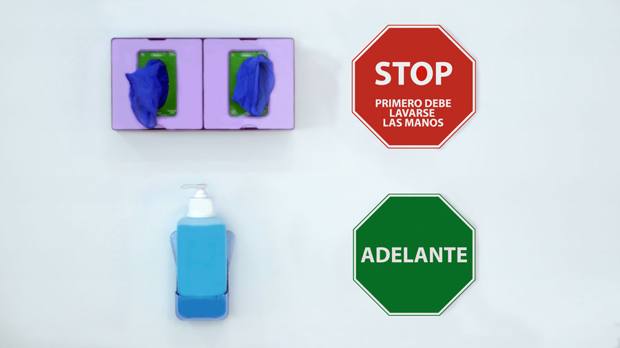 Indication with traffic light for hand hygiene in healthcare areas